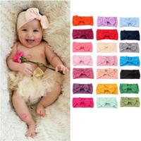 noeuds élastiques bébé achat en gros de-Bandeaux bébé bandeaux enfants bohème bandeau bébé arc noeud noué couleur solide bande de cheveux élastique 61