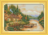 Lonely Sunset Scenery home decor painting ,Handmade Cross Stitch Embroidery Needlework sets counted print on canvas DMC 14CT  11CT