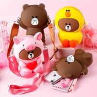osos de samsung llevan al por mayor-Bolso cruzado de la caja del teléfono del silicón del oso para Huawei IPhone Samsung XiaoMi paquete de tendencia lindo de dibujos animados de variedad impermeable
