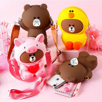 Wholesale xiaomi packaging online – Cross body bag bear silicone phone case bag For Huawei IPhone Samsung XiaoMi waterproof variety cartoon cute trend package
