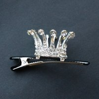 cristal mini coroa de cabelo venda por atacado-Acessórios de cabelo nupcial na moda banhado a prata Crystal Crown Grampos para grampos de cabelo Mulheres Rhinestone Mini metal tiara