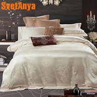 Wholesale black silk king comforter for sale - Svetanya Jacquard Bedding sets silk polyester Cotton Bedclothes Queen King size Bedsheet Pillowcases Comforter Cover Set