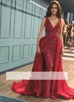 robes de soirée arabes à vendre achat en gros de-2019 arabe scintillant rouge sirène robes de bal avec cache-couche détachable V-cou cristaux robe de soirée perles robes de soirée personnaliser