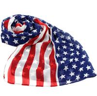 ingrosso sciarpe americane-Bandiera americana Star-Spangled Banner allungato Sciarpa in chiffon all'ingrosso scialle lady Sailor Dance sciarpa moda estate avvolge 160 * 70 cm