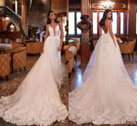 Wholesale model court dress for sale - Group buy Milla Nova New Designer Country Wedding Dresses Deep V Neck Sexy Backless Lace Appliques Ruched Long Court Train Bridal Gowns
