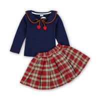 butik tarzı yaylar toptan satış-Kolej tarzı Bebek kız kafes kıyafetler çocuk Yay üst + Ekose etekler 2 adet / takım Bahar Sonbahar moda Butik çocuk Giyim Setleri C5671