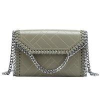 bolsas de tela coreana al por mayor-Color sólido tela escocesa calidad PU cuero tela moda tendencia mujer bandolera diseñador mujer coreana Messenger bag