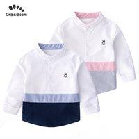 chemise à col mandarin bébé garçon achat en gros de-2019 printemps grarçon style européen Bleu Rose enfants Blanc Plein T-shirts manches Turn-0 Occasionnel à col tops bébé chemise
