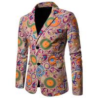 yeni tasarım erkek blazer toptan satış-Ulusal stil Erkek Takım Elbise Blazers Pamuk Keten Rahat Çiçek Erkekler Blazer tasarımları Slim fit Ceket Kaban Yeni Casaco masculino