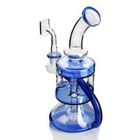 glas bongs huka rauchen zubehör großhandel-Blue Bong Dab Rig Glas Wasserpfeife Recycler Ölplattform 14mm Banger Bubbler Shisha berauschende Perkolator für das Rauchen Zubehör Klieschen