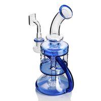 аксессуары для кальяна для курения оптовых-Синий бонг Dab rig стекло водопровод рециркулятор нефтяная вышка 14 мм сосиска барботер кальян пьянящий перколятор для курительных принадлежностей мазки