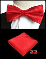 soie rouge foncé achat en gros de-Mens Bow Tie Dark Red Solid 100% Soie Classique Jacquard Woven nouvelle marque Cravate Hanky Cufflink Set Pour Les Hommes Formelle Fête De Mariage