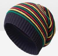 Wholesale rasta knit for sale - Group buy Pom Pom Winter Hip Hop Hat Bob Marley Jamaican Rasta Reggae Multi colour Striped Beanie Hats For Mens Women Beanies Ski Knit Hat