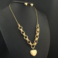 Wholesale stud pendant resale online - Heart Gold Color Stainless Steel Jewelry Necklace Pendant Stud Earrings Sets Supernova Sales for Women SFGZAMBI