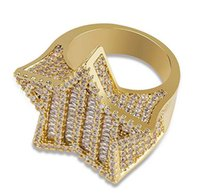 Discount star hips Mens Iced Out 3D Gold Super Star Rings Micro Pave Cubic Zirconia 14K Gold Plated Simulated Diamonds Hip hop Ring with gift box