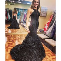 Wholesale black prom dresses online - 2018 New Stunning Black Long Prom Dresses Beaded Appliqued Cascading Ruffled Mermaid Court Train Backless Formal Party Dresses Evening Gowns