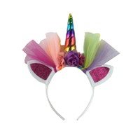 regenbogen kopfbedeckung groihandel-Halloween Karneval Haarband Einhorn Party Supplies Regenbogen Gaze 7 Bunte Geburtstagsgeschenk Spielzeug Headwear Bardian Mode 5 39leD1