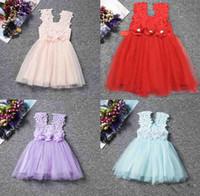 moda tığ işi yelekleri toptan satış-Perakende Moda kızlar Dantel Tığ Yelek Elbise sundress Prenses Kızlar kolsuz tığ yelek Dantel elbise bebek parti elbise çocuklar giysi