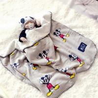 cobertores de camada dupla venda por atacado-100 * 70 cm Cobertores Do Bebê Nova Engrossar Dupla Camada De Coral Velo Infantil Swaddle Envelope Envoltório Coruja Impresso Bebê Recém-nascido Cobertor De Cama Do Bebê