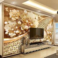 luxus-gold-tapete großhandel-Individuelle Fototapete 3D Geprägter Goldschmuck Blumentapete europäischen Stil Wohnzimmer TV Hintergrund Wandmalerei Luxus-Dekor