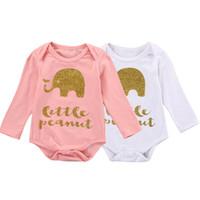 bebê elefante romper venda por atacado-Elefante infantil bebê meninas algodão manga longa roupa Bodysuit Romper Outfit