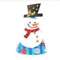 papier weihnachten hüte großhandel-kreatives handgeschöpftes Papier Weihnachtsmann Schneemann Weihnachtsmütze Partyhüte Kinder Partybevorzugung Weihnachten