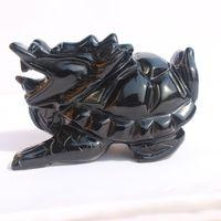 dragones lideran al por mayor-Dragón de obsidiana natural que adorna piezas de la casa de la ciudad para protegerse del espíritu maligno de los principales muebles de tortuga