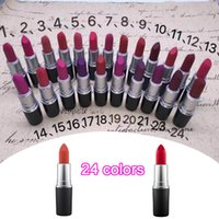 Wholesale lipstick english name 24 colors resale online - 2019 NEW matte Lipstick M Makeup Luster Retro Lipsticks Frost Sexy Matte Lipsticks g colors lipsticks with English Name