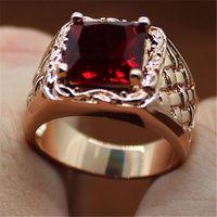 regalos para ruby aniversario de boda al por mayor-Lujo S925 Plata 18 K Placa de Oro Rojo Ruby Diamond Mujeres Día de Aniversario de Boda Regalo de la Joyería Tamaño 6,7,8,9,10