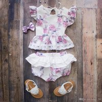Wholesale cute diaper girls for sale - Group buy Ins Baby Girl Toddler Summer pieces Outfits Rose Floral Lace Tank Tops Shirt Vest Shorts Bloomer Pants Skirt Diaper Covers Cute