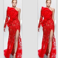 Wholesale elie saab one shoulder gown for sale - Group buy 2020 Red Elie Saab One Shoulder Single Sleeve Lace Big Bow Applique Front Split Evening Gowns Customize Prom Celebrity Dresses
