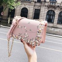 Wholesale hard sweet flower resale online - Lace Flowers Women bag New handbag High quality PU Leather Sweet Girl Square bag Flower Pearl Chain Shoulder Messenger Bag
