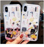 parfüm telefon kapağı toptan satış-Kozmetik Quicksand Kapak Kılıf iphone 6 S 7 8 Artı XS Max XR Sert Ruj Parfüm Şişesi Dinamik sıvı Çapa Telefon kılıfı ipone