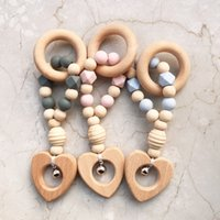 Wholesale teether hanging toys for sale - Group buy 2020 Non Toxic Newborn Gift Wood Silicone Beads Baby Chewable Animal Pendant Rattle Hanging Gym Toys Teether