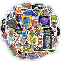 Wholesale planets toys online - 50 Outer Space Stickers Toys for Children Alien UFO Astronaut Rocket Ship Planet Sticker to Scrapbooking Skateboard Laptop C3