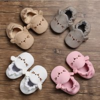 Wholesale baby shoe for sale - 0 T kids first shoes infant soft botton non slip cat shoes baby girl white pink Prewalker