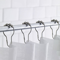 Wholesale rollerball shower curtain hooks resale online - Home Bathroom Accessories Practical Curtain Hooks Stainless Steel Bath Rollerball Shower Curtain Hooks Glide Rings Hooks DH0909 T03