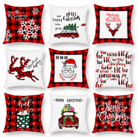almohadas de camiones al por mayor-Cojín Almohada de Navidad de la tela escocesa Feliz Navidad fundas de cojines del árbol de navidad ciervos Camión Inicio del partido decorativo 16 estilos WX9-1677