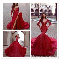 indisches hochzeitskleid plus größe großhandel-Sexy Red Satin Indian Mermaid Empfang Gothic Langarm Brautkleider Günstige Perlen Muslim Plus Size Brautkleider 2019