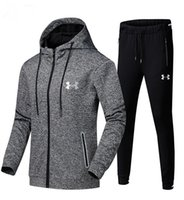 você configurou venda por atacado-L-5XL UA Homens Jaqueta de Treino Sob Zíper Casacos Com Capuz + Calças 2 PCS Definir Casaco Com Capuz Camisola Outfit Armadura Outono Sportswear Terno