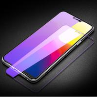 vollfilm-handy großhandel-Für iphone x Telefon Film Full Screen HD lila Film Anti-Blaulicht Handy Glas Film Unterstützung 2PCS Lieferung / Großhandel