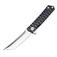 Wholesale titanium edc tools for sale - Flipper D2 HRC Tanto Point Blade Tactical Folding Knives TC4 Titanium Alloy Handle Ball Bearing Camping EDC Hand Tools P855Q R