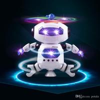 luzes giratórias venda por atacado-Levou Iluminação UP Andando Dança Robôs brinquedos infantis brinquedos RC Robô Linha de Controle Remoto 4 Padrões turbo elétrico 360 graus revolvendo