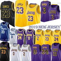 bolas venda por atacado-LeBron 23 James Jerseys NCAA 24 Kobe Anthony 3 Jerseys Davis Los Angeles 0 Kuzma 2 Bola 14 Ingram 8 Bryant Jerseys 2019 homens / crianças