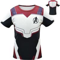 ingrosso costumi cosplay per uomini corti-T-shirt Avengers 4 Endgame 3D Print Super eroe Tops Uomo adolescente manica corta Tees Costume Cosplay 3 colori C6438