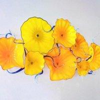 Wholesale art deco hallway resale online - Flower Plates Wall Art Creative Bold Yellow Wall Lights Hallway Elegant Hotel Decorative Plates Hanging Wall Art