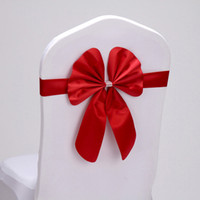 желтый бант для стульев оптовых-20pcs/lot Red/Silver/Yellow 16 Colors Wedding Party Decoration PU Leather Chair Bow Knot For Hotel Banquet Chair Back Decor