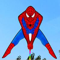 compra de juguetes al por mayor-Envío gratis de alta calidad Spiderman con 60 M mango línea exterior para la compra de energía Nylon Flying Toys Hero Kites al por mayor