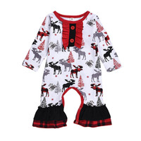 Wholesale cotton tree baby clothes for sale - Group buy 2019 Baby Christmas Clothes Newborn Rompers Girls Clothing Infant Girl Deer Xmas Tree Bodysuits Ruffle Jumpsuits Cotton Romper M712