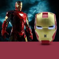 juguete de cara de hombre de hierro al por mayor-Máscara LED Glow Halloween Masquerade Iron Man 3 Máscara de casco luminosa PP Decoración para niños Juguete de Navidad LED Kid Adult Face Gift Toys